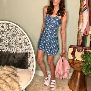 NWT Forever 21 chambray polka-dot skater dress